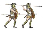 Greek Hoplites. The warriors are shown in two attack positions, with both an overhand and underhand thrust.