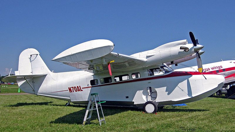 former Grumman Goose that was converted and re-certified as a new McKinnon G-21G Turbo Goose in 1970 with PT6A-27 turboprops, here displayed at Oshkosh Wisconsin
