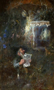 Gnome with newspaper and tobacco pipe under a toadstool, with a snail above him and a tree frog in the glass. Heinrich Schlitt (1849-1923) [public Domain]